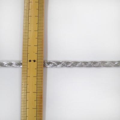 BR0252 ラメブレード 三つ編み 4mm幅 シルバー 特価
